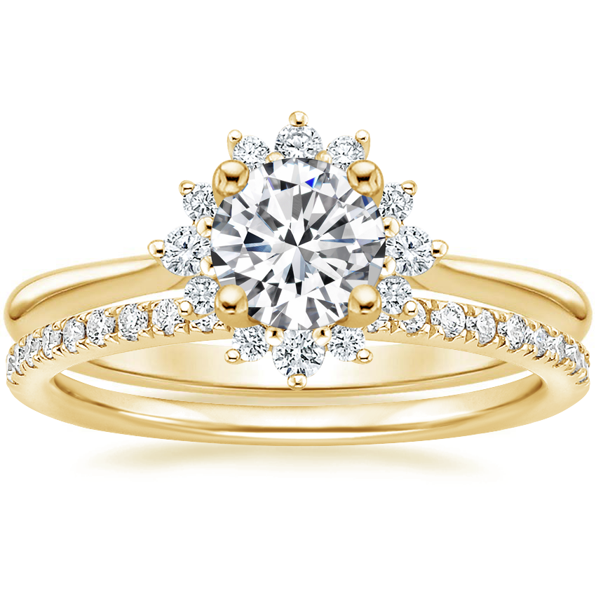 18K Yellow Gold Sol Diamond Ring with Ballad Diamond Ring (1/6 ct. tw.)