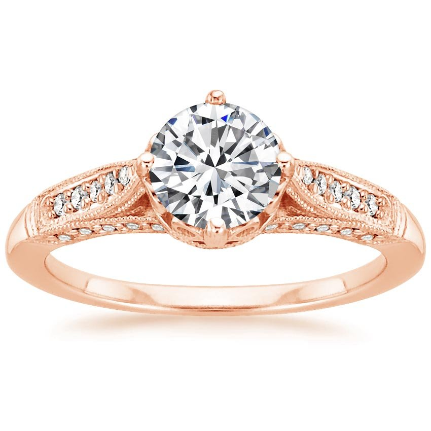 14K Rose Gold Heirloom Diamond Ring (1/4 ct. tw.), top view