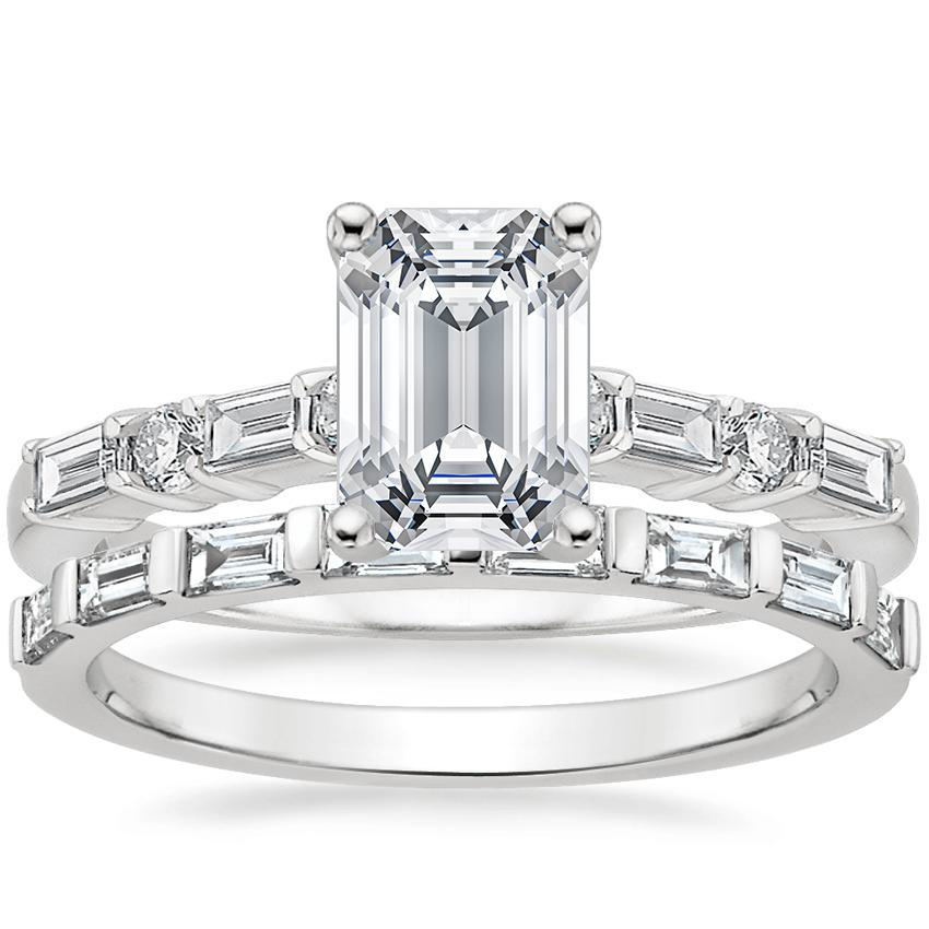 Platinum Leona Diamond Ring (1/4 ct. tw.) with Barre Diamond Ring (1/4 ct. tw.)