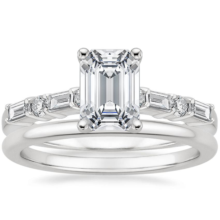 18K White Gold Leona Diamond Ring (1/4 ct. tw.) with Petite Comfort Fit Wedding Ring