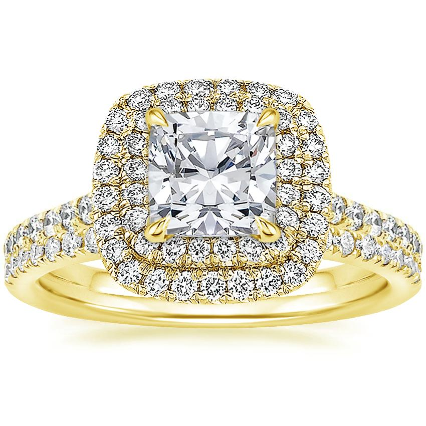 18K Yellow Gold Soleil Diamond Ring with Ballad Diamond Ring (1/6 ct. tw.)