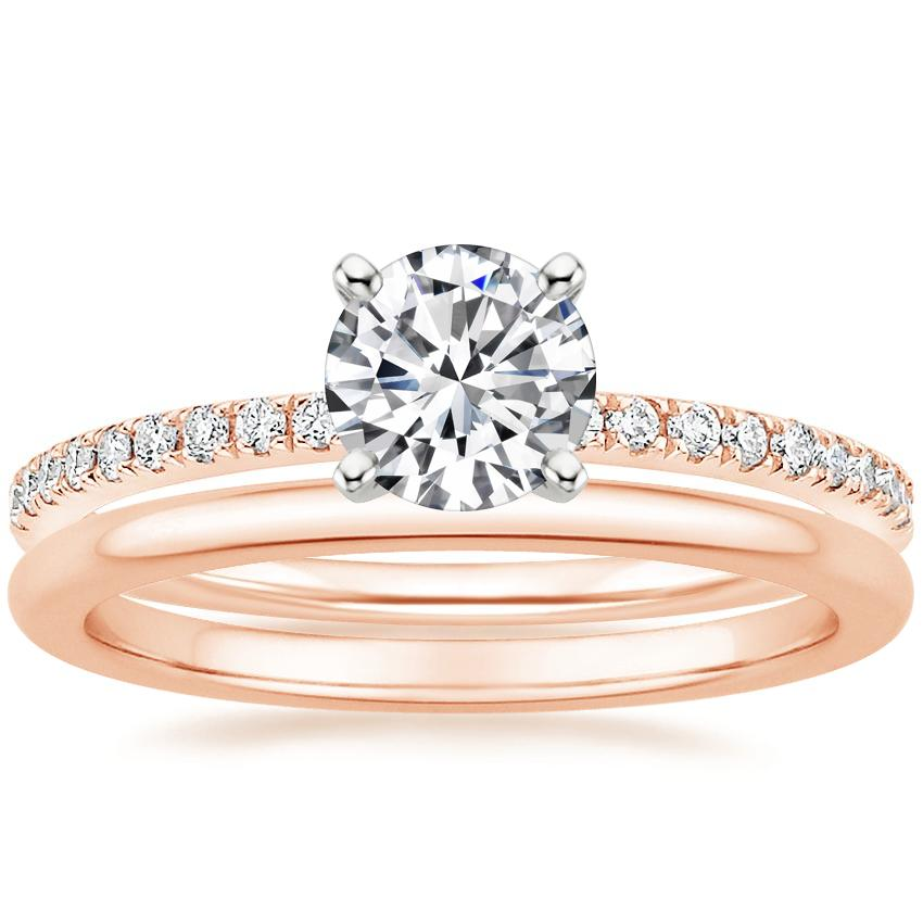 14K Rose Gold Ballad Diamond Ring (1/8 ct. tw.) with Petite Comfort Fit Wedding Ring