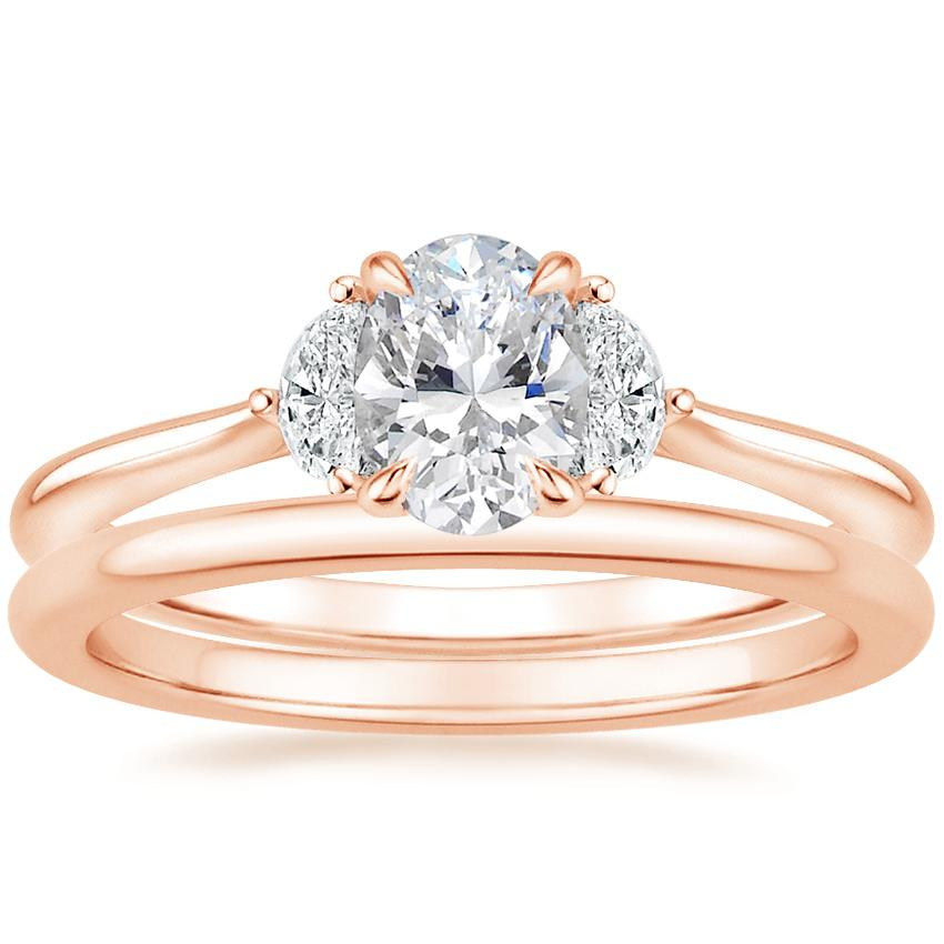 14K Rose Gold Half Moon Diamond Ring with Petite Comfort Fit Wedding Ring