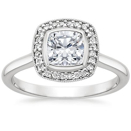 Platinum Fancy Bezel Halo Diamond Ring (1/4 ct. tw.)