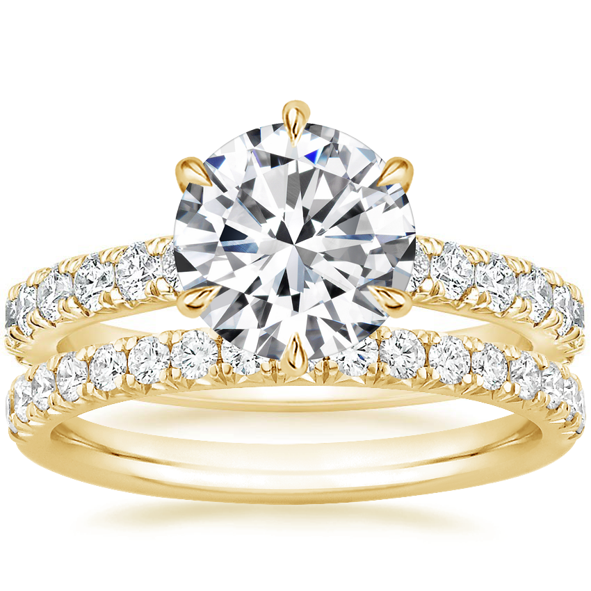 18K Yellow Gold Luxe Sienna Diamond Ring (1/2 ct. tw.) with Amelie Diamond Ring (1/3 ct. tw.)