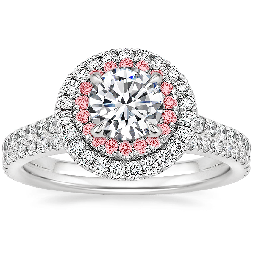 18K White Gold Soleil Diamond Ring with Pink Lab Diamond Accents (1/2 ct. tw.) with Luxe Ballad Diamond Ring (1/4 ct. tw.)