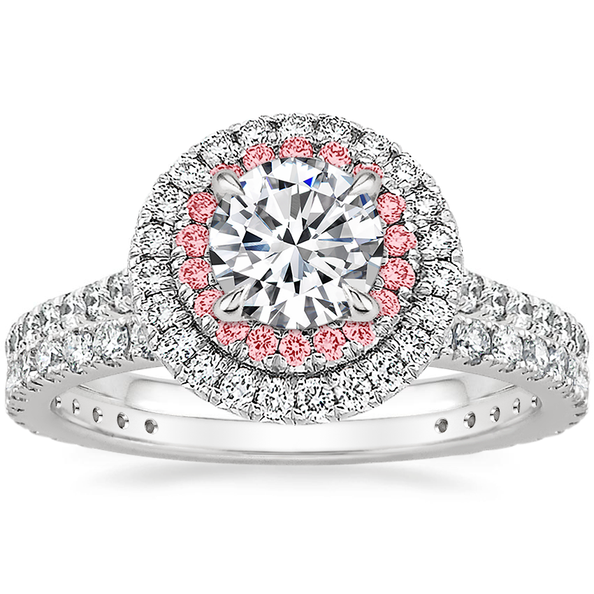 Platinum Soleil Diamond Ring with Pink Lab Diamond Accents (1/2 ct. tw.) with Luxe Bliss Diamond Ring (1/3 ct. tw.)