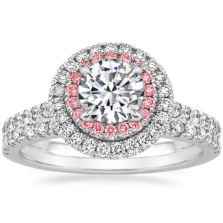 Platinum Soleil Diamond Ring with Pink Lab Diamond Accents (1/2 ct. tw.) with Bliss Diamond Ring (1/5 ct. tw.)
