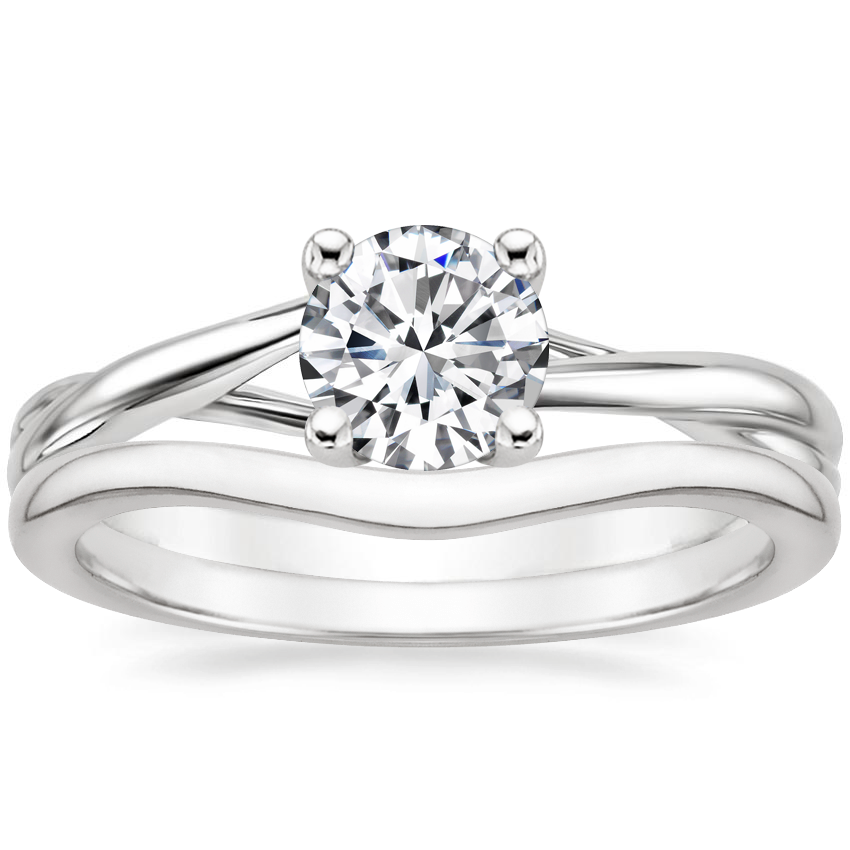 18K White Gold Grace Ring with Petite Curved Wedding Ring