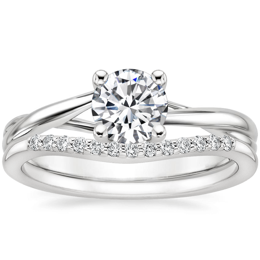 18K White Gold Grace Ring with Petite Curved Diamond Ring (1/10 ct. tw.)