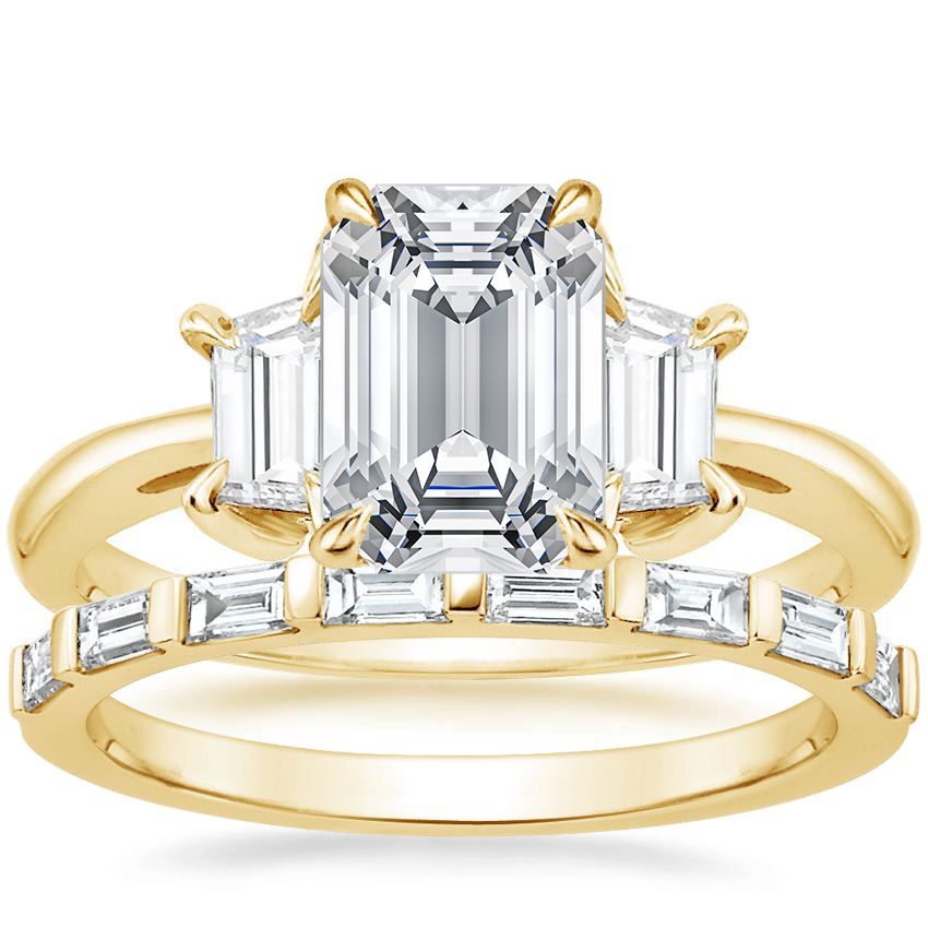 18K Yellow Gold Embrace Diamond Ring (1/2 ct. tw.) with Barre Diamond Ring (1/4 ct. tw.)