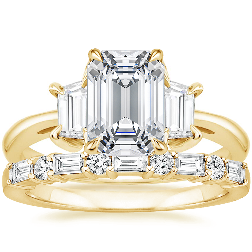 18K Yellow Gold Embrace Diamond Ring (1/2 ct. tw.) with Leona Diamond Ring (1/3 ct. tw.)