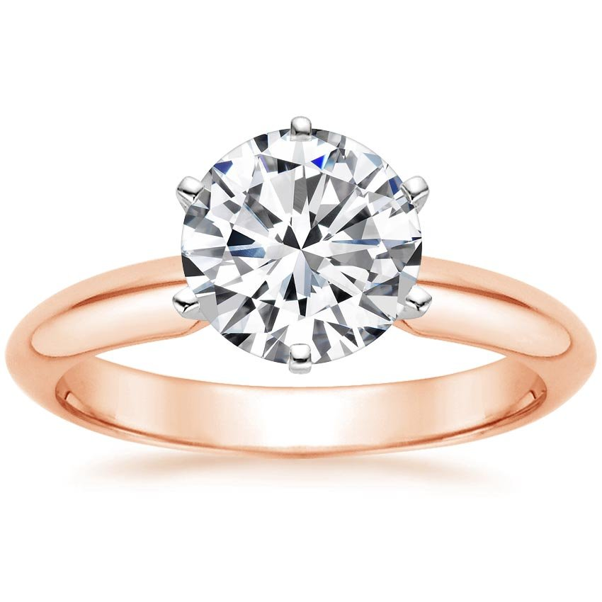 14K Rose Gold Six-Prong Classic Ring, top view