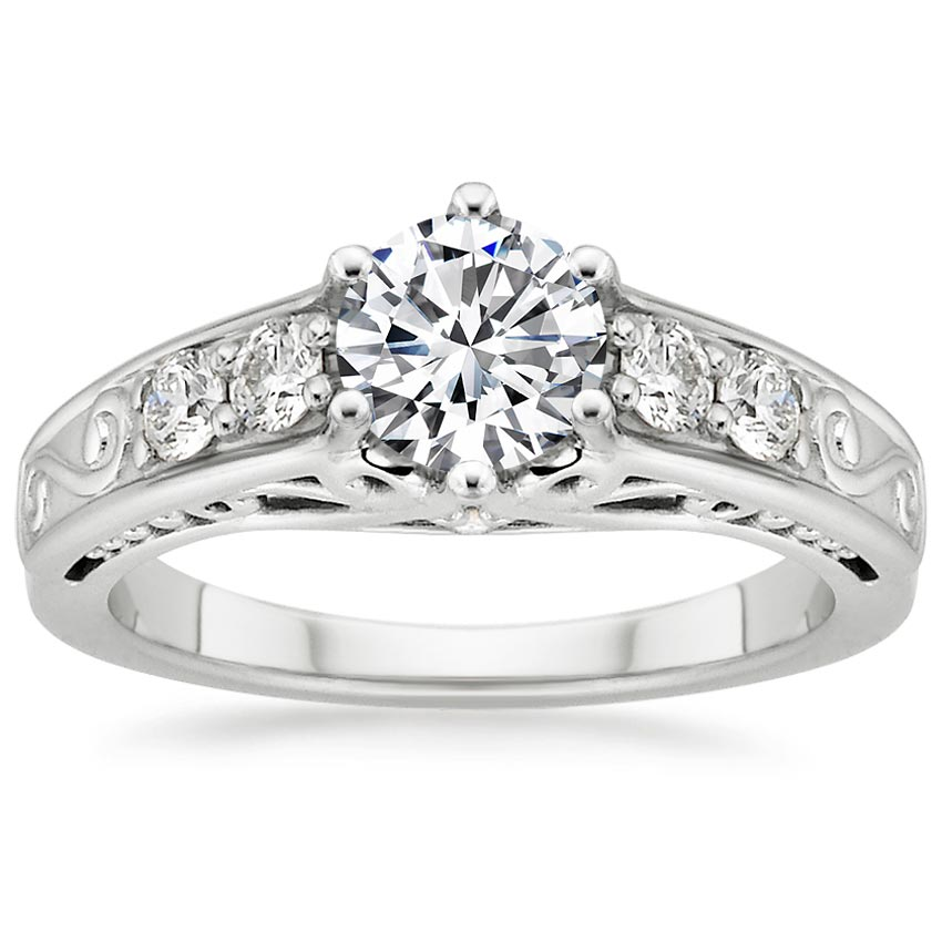 Platinum Art Deco Filigree Diamond Ring (1/4 ct. tw.), top view