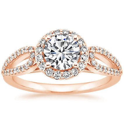 14K Rose Gold Lumiere Halo Diamond Ring (1/3 ct. tw.), top view