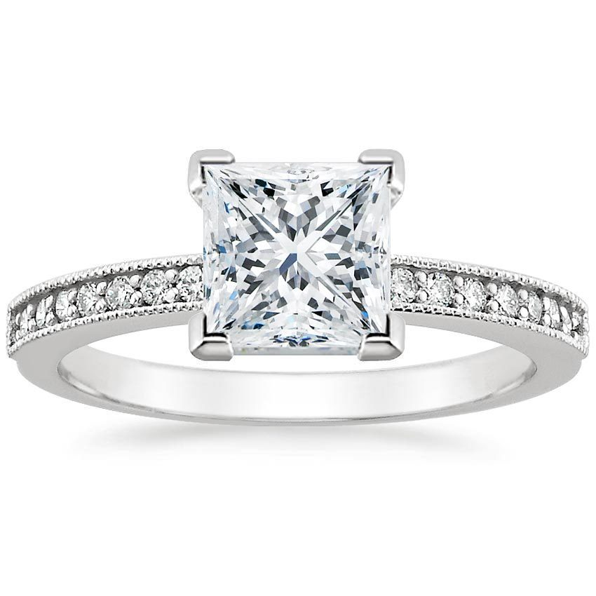 18K White Gold Pavé Milgrain Diamond Ring (1/4 ct. tw.), top view