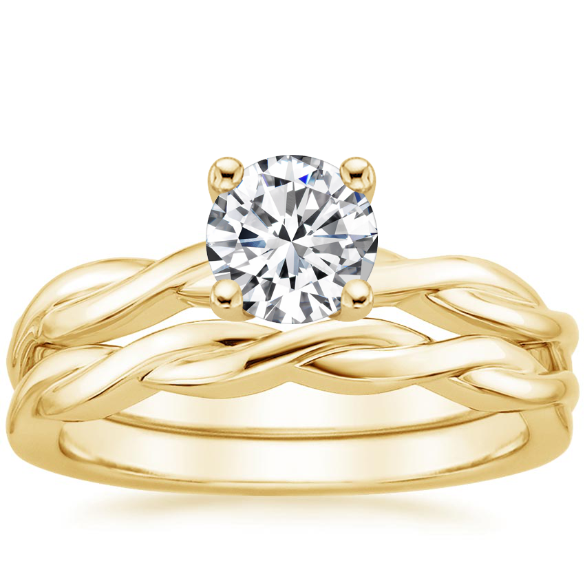 18K Yellow Gold Twisted Vine Bridal Set