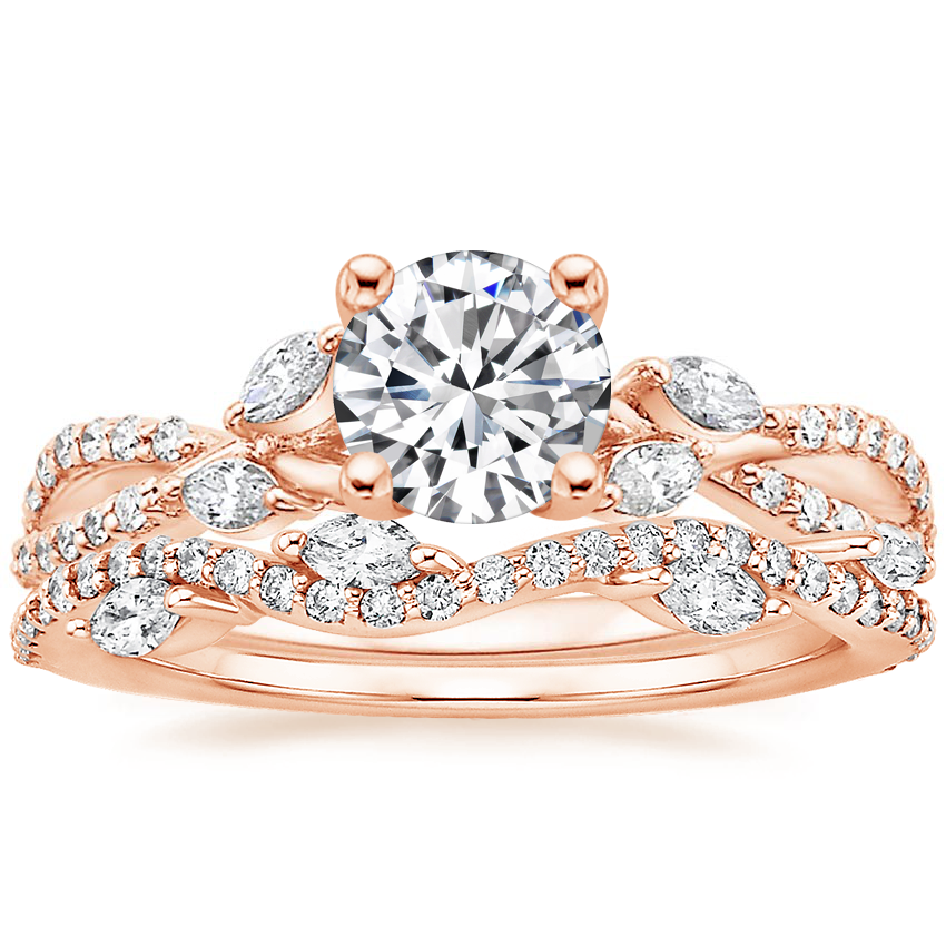 14K Rose Gold Luxe Willow Diamond Ring (1/3 ct. tw.) with Luxe Winding Willow Diamond Ring (1/4 ct. tw.)