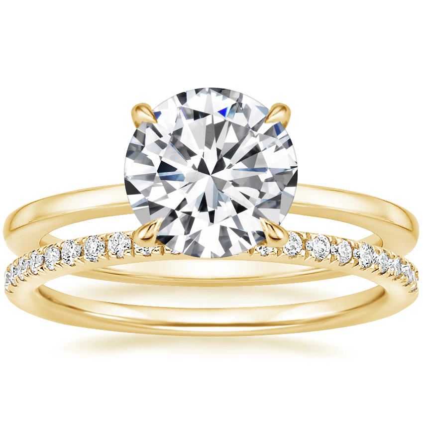18K Yellow Gold Lumiere Diamond Ring with Ballad Diamond Ring (1/6 ct. tw.)