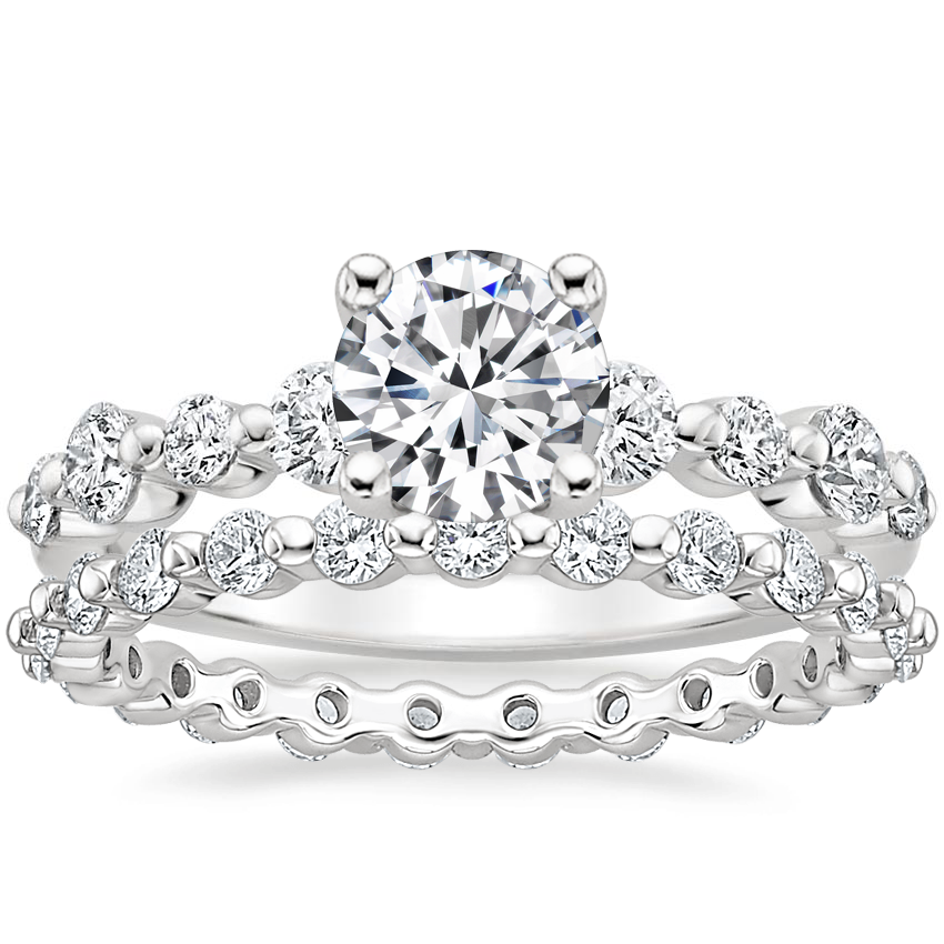 18K White Gold Bordeaux Diamond Ring with Marseille Eternity Diamond Ring (2/3 ct. tw.)