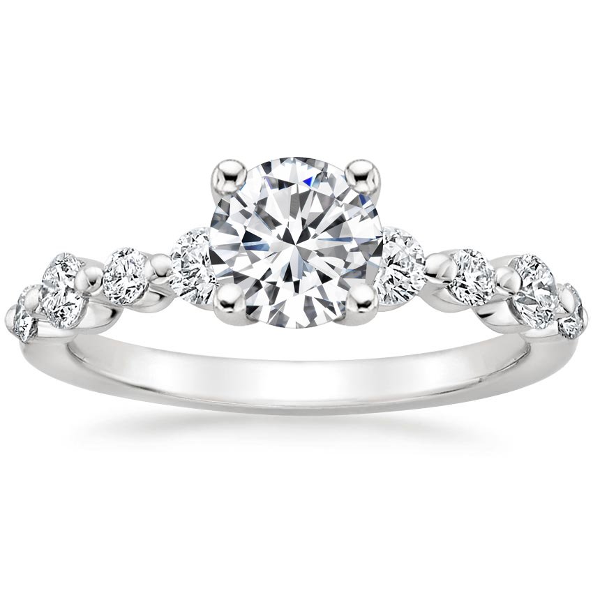 Round Floating Shared Prong Engagement Ring