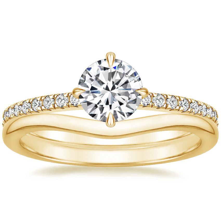 18K Yellow Gold Polaris Diamond Ring with Petite Curved Wedding Ring