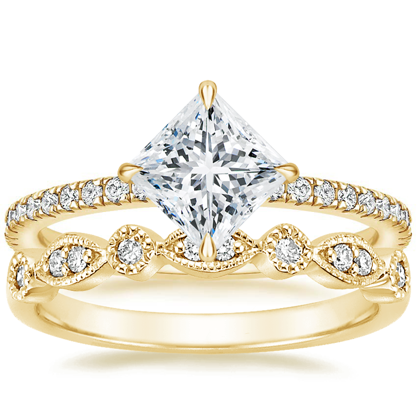18K Yellow Gold Polaris Diamond Ring with Tiara Diamond Ring (1/10 ct. tw.)