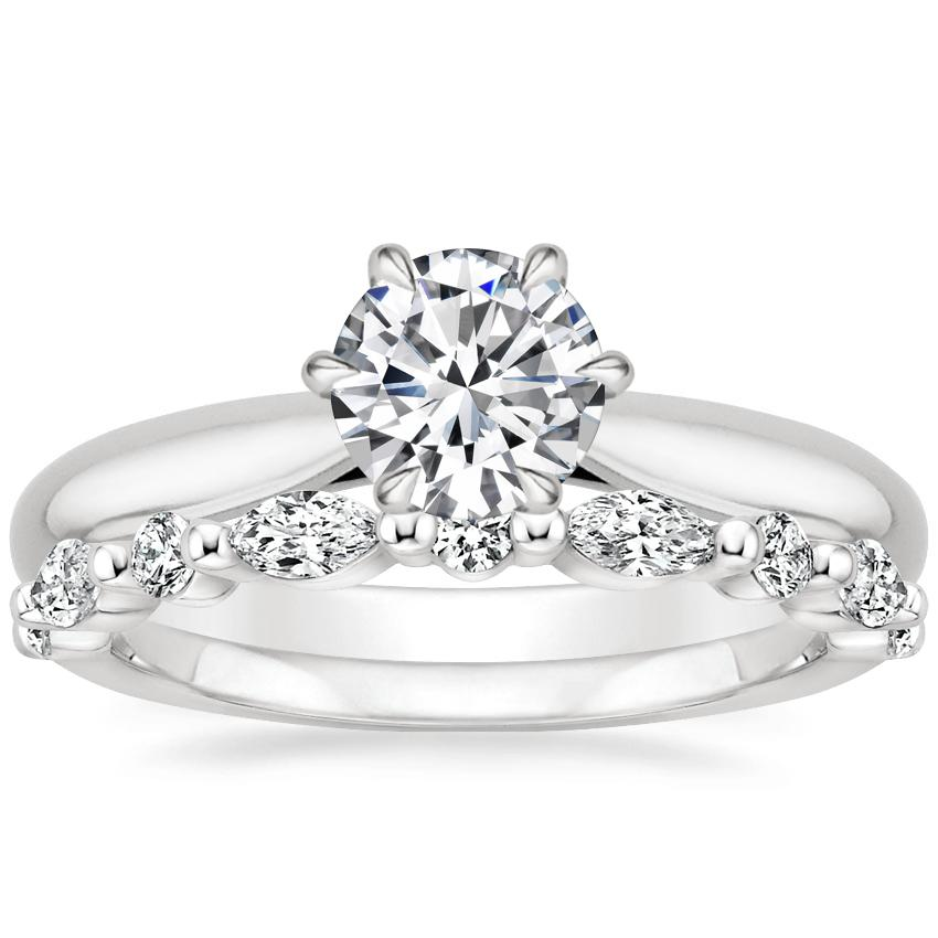 18K White Gold Catalina Ring with Versailles Diamond Ring (2/5 ct. tw.)
