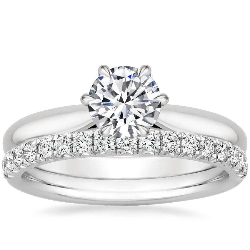 18K White Gold Catalina Ring with Amelie Diamond Ring (1/3 ct. tw.)