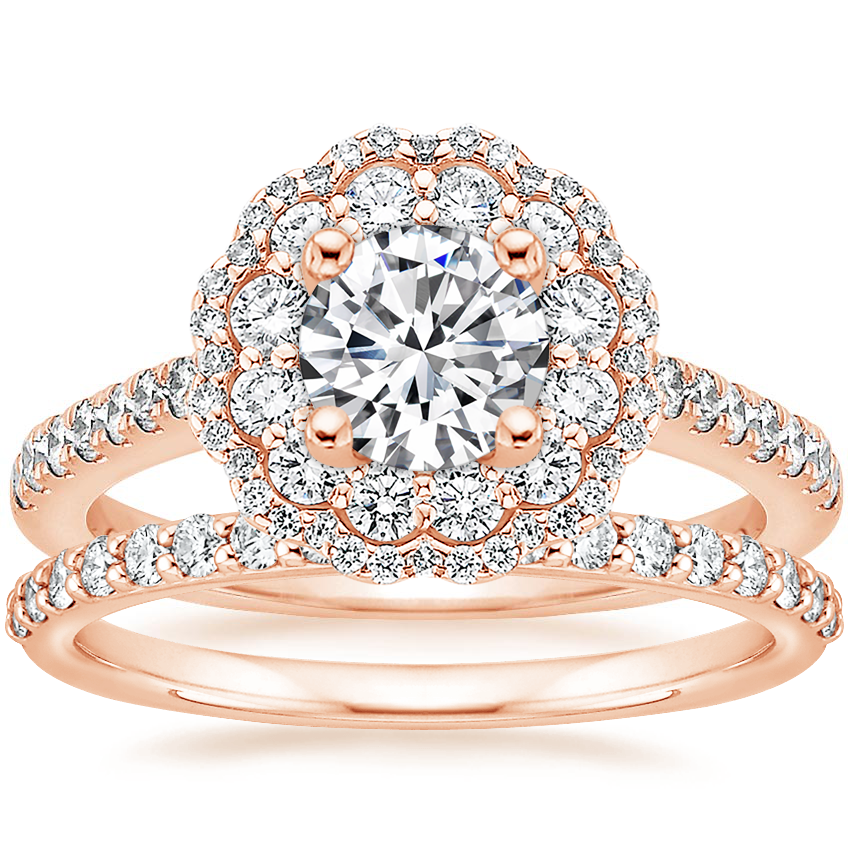 14K Rose Gold Rosa Diamond Ring with Petite Shared Prong Diamond Ring (1/4 ct. tw.)