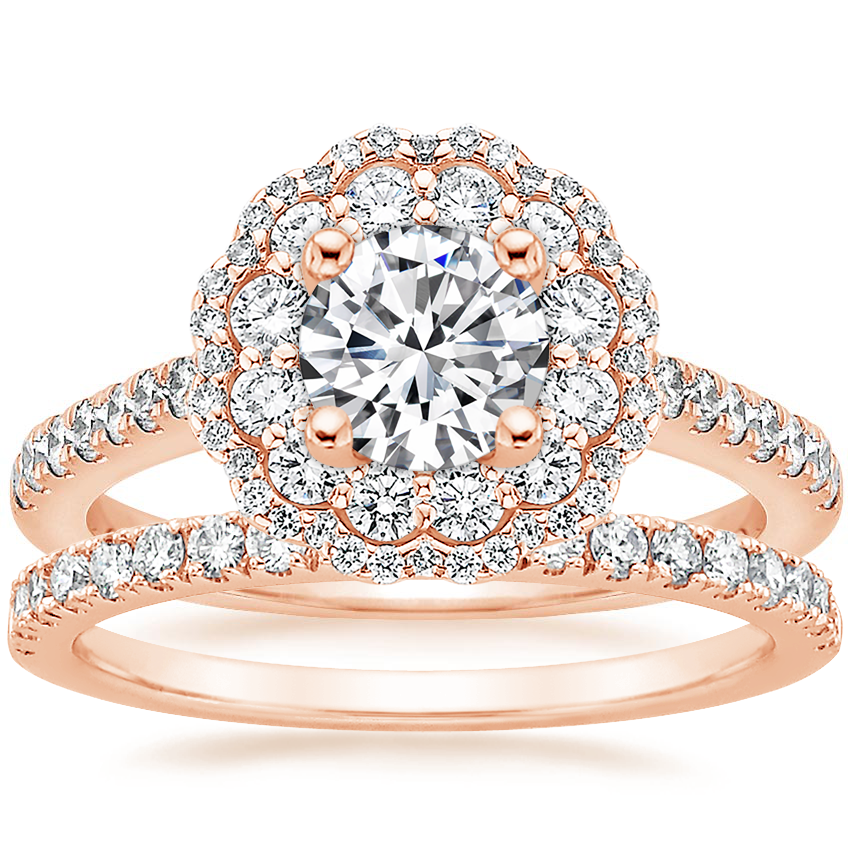 14K Rose Gold Rosa Diamond Ring with Bliss Diamond Ring (1/5 ct. tw.)
