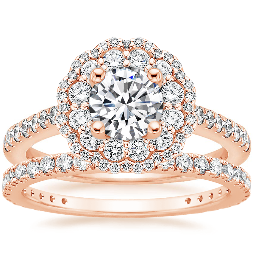 14K Rose Gold Rosa Diamond Ring with Luxe Bliss Diamond Ring (1/3 ct. tw.)