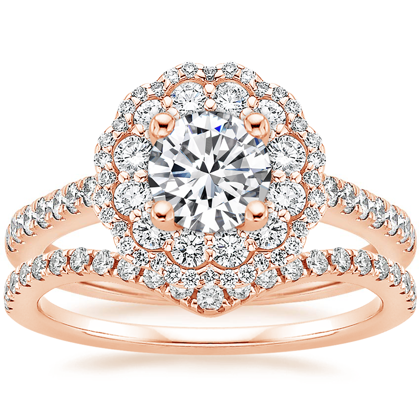14K Rose Gold Rosa Diamond Ring with Flair Diamond Ring (1/6 ct. tw.)