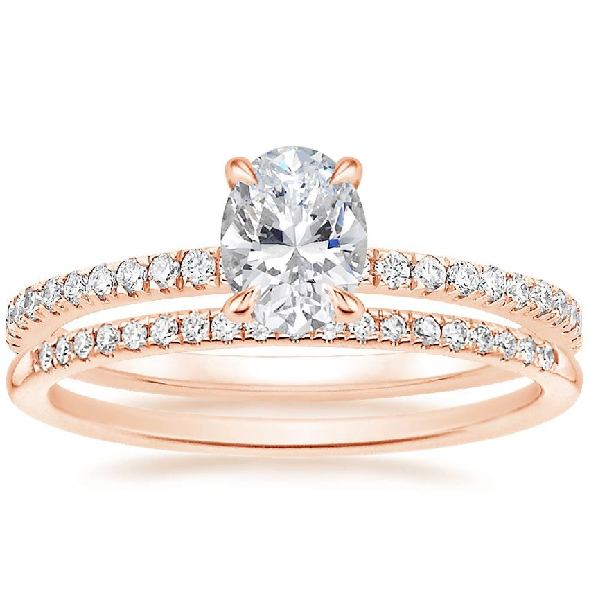 14K Rose Gold Viviana Diamond Ring (1/3 ct. tw.) with Whisper Diamond Ring (1/10 ct. tw.)