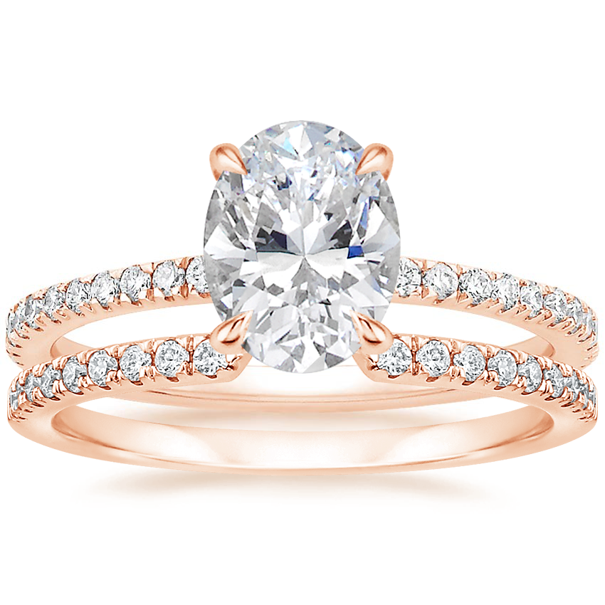 14K Rose Gold Luxe Viviana Diamond Ring (1/3 ct. tw.) with Sia Diamond Ring (1/8 ct. tw.)