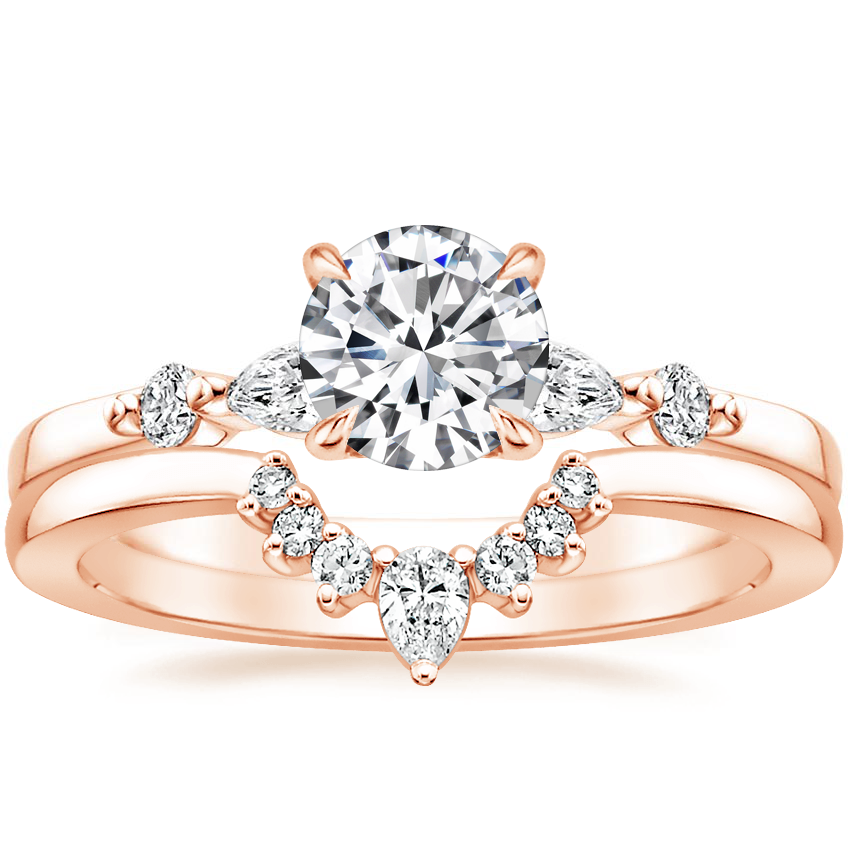 14K Rose Gold Petite Versailles Diamond Ring (1/5 ct. tw.) with Lunette Diamond Ring