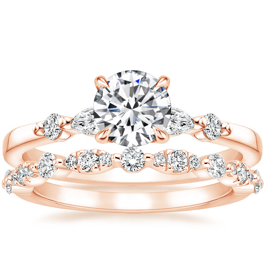 14K Rose Gold Petite Versailles Diamond Ring (1/6 ct. tw.) with Odette Diamond Ring (1/4 ct. tw.)
