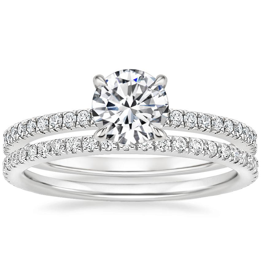 18K White Gold Petite Viviana Diamond Ring (1/4 ct. tw.) with Luxe Ballad Diamond Ring (1/4 ct. tw.)