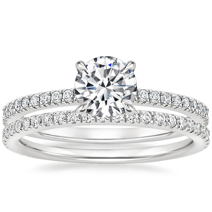 18K White Gold Viviana Diamond Ring (1/4 ct. tw.) with Luxe Ballad Diamond Ring (1/4 ct. tw.)