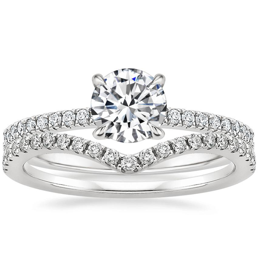 18K White Gold Petite Viviana Diamond Ring (1/4 ct. tw.) with Flair Diamond Ring (1/6 ct. tw.)