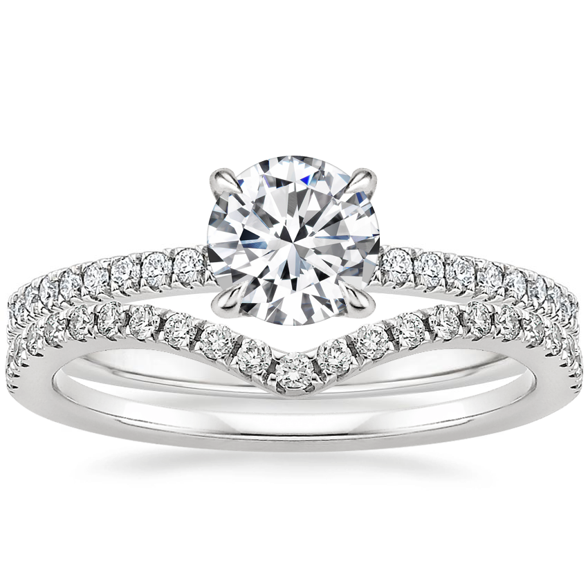 18K White Gold Viviana Diamond Ring (1/4 ct. tw.) with Flair Diamond Ring (1/6 ct. tw.)