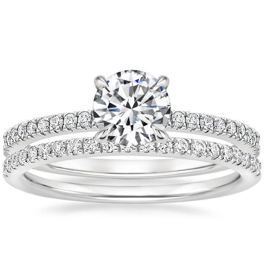 18K White Gold Petite Viviana Diamond Ring (1/4 ct. tw.) with Ballad Diamond Ring (1/6 ct. tw.)
