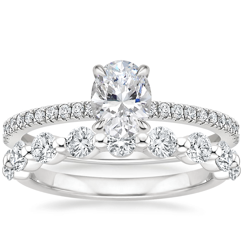 18K White Gold Viviana Diamond Ring (1/4 ct. tw.) with Monaco Diamond Ring (3/4 ct. tw.)