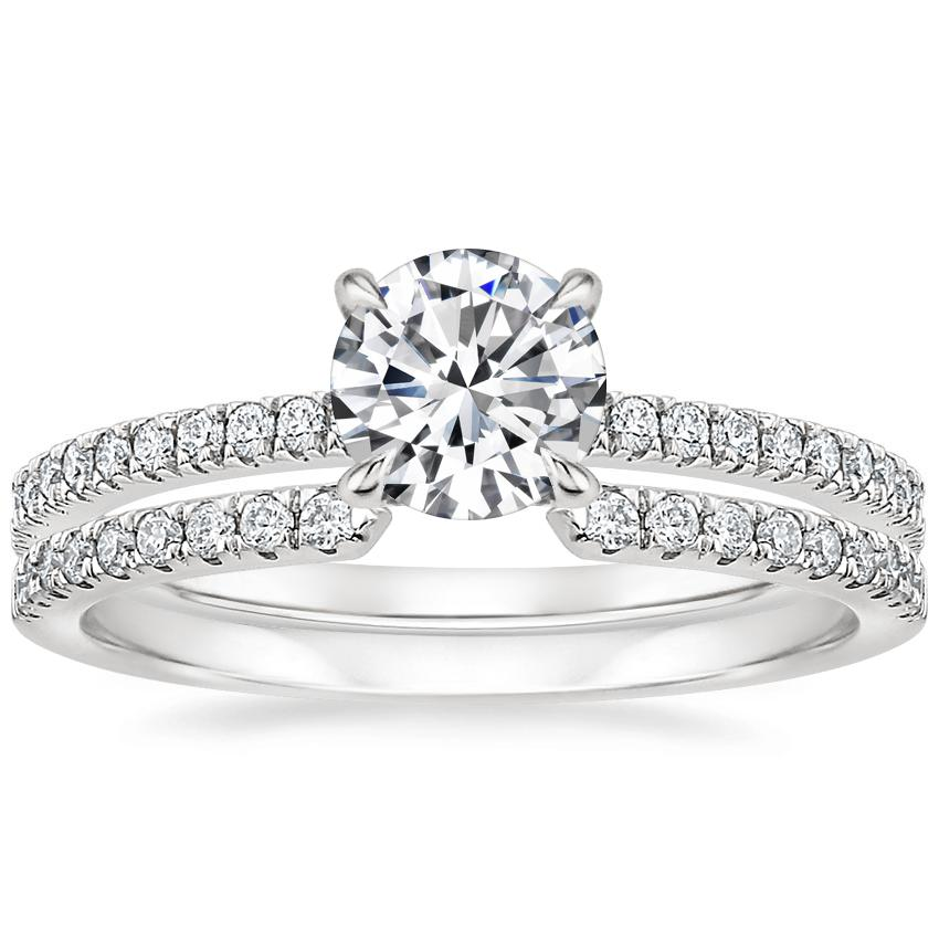 18K White Gold Petite Viviana Diamond Ring (1/4 ct. tw.) with Sia Diamond Ring