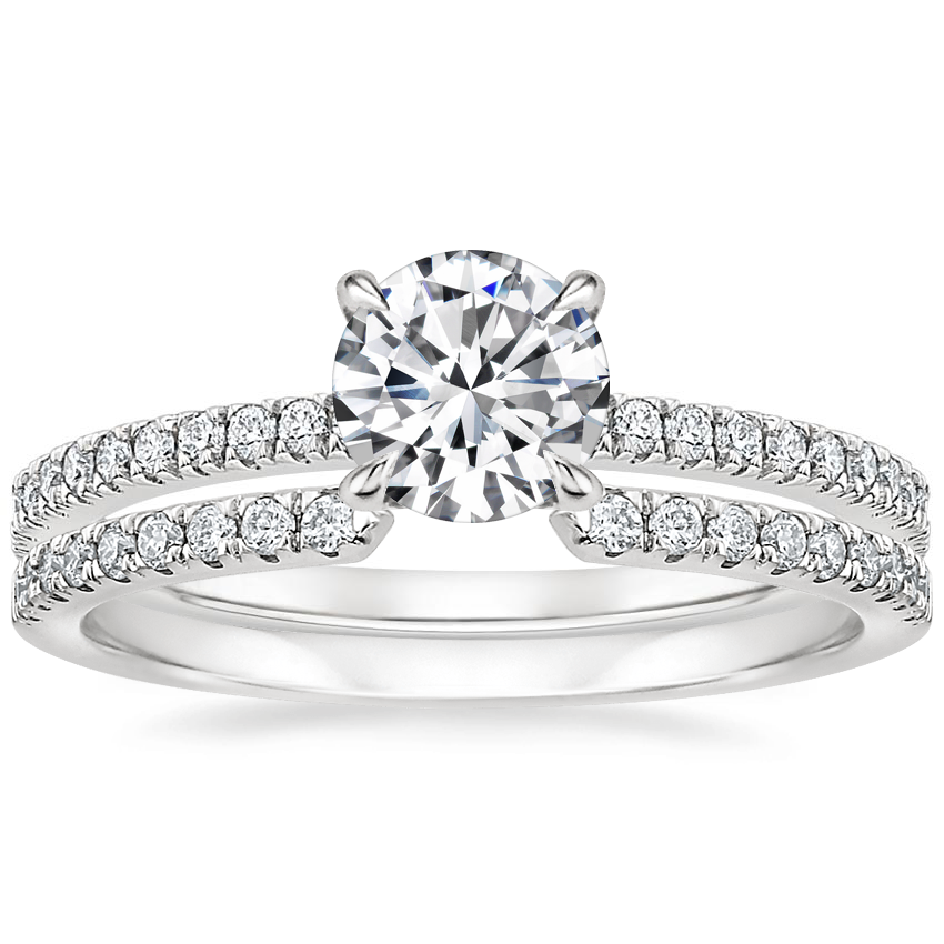 18K White Gold Viviana Diamond Ring (1/4 ct. tw.) with Sia Diamond Ring (1/8 ct. tw.)