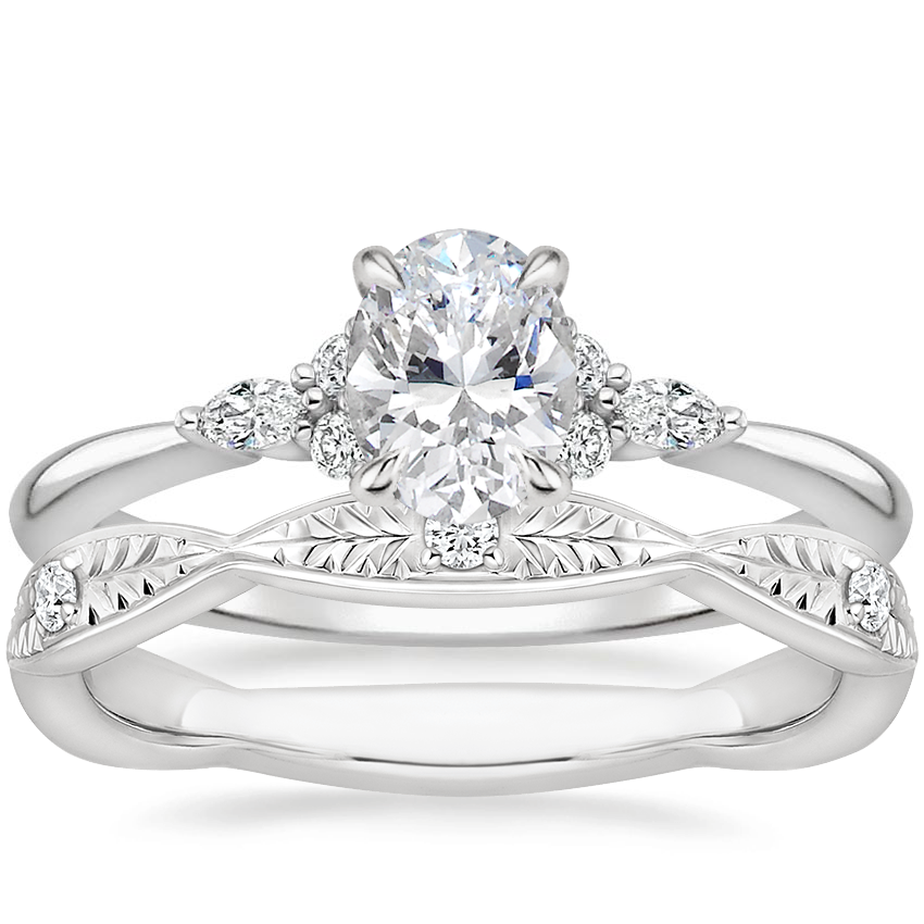 18K White Gold Nadia Diamond Ring with Genevieve Diamond Ring