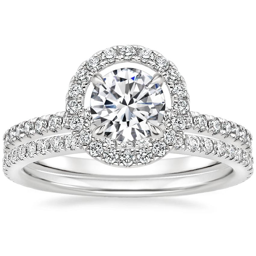 18K White Gold Aura Diamond Ring with Luxe Ballad Diamond Ring (1/4 ct. tw.)