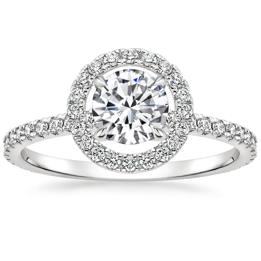 Round Floating Halo Diamond Ring