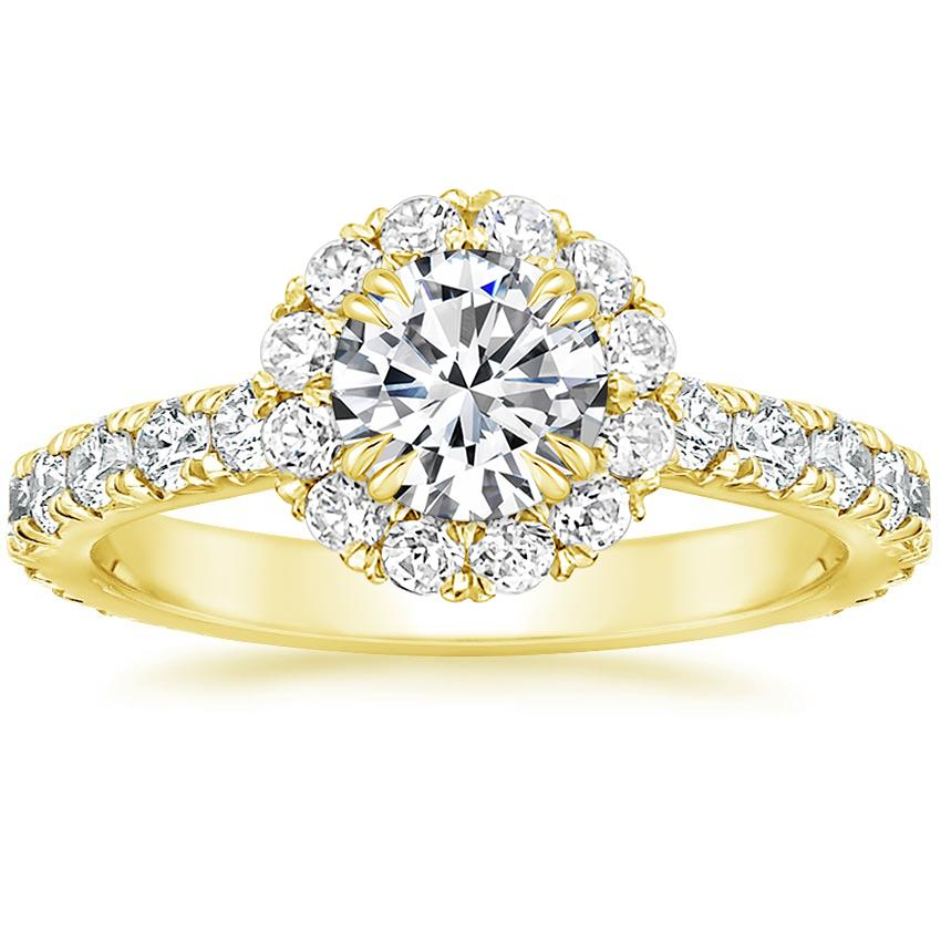 Round 18K Yellow Gold Luxe Sienna Halo Diamond Ring
