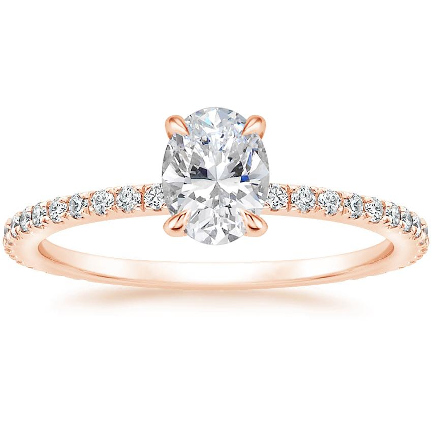 Oval 14K Rose Gold Demi Diamond Ring with Sapphire Accents (1/4 ct. tw.)